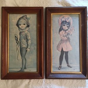 60s vintage Maio big eye framed wall art